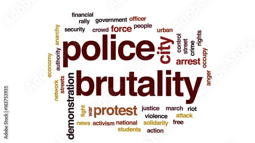 Fényképezés  Police brutality animated word cloud, text design animation.