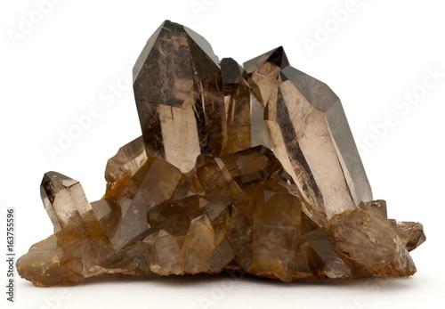 Tablou Canvas A cluster of dark brown smoky Quartz crystals