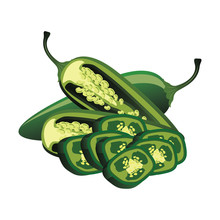 Slice Of Raw Jalapenos. Vector...