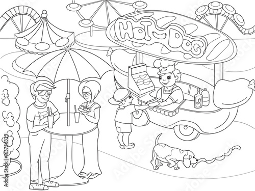 Amusement Park Coloring Pages For Children Hot Dog Food Truck