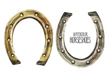 Watercolor Horseshoes In Golde...