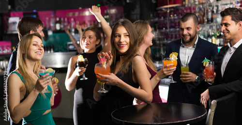 Obraz Cheerful employees  dancing on corporate party - fototapety do salonu