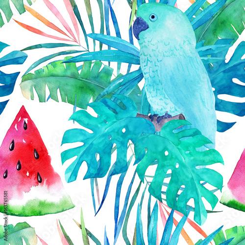 lato-wzor-z-akwarela-papuga-palmowymi-liscmi-i-arbuzem-na-bialym-tle-recznie