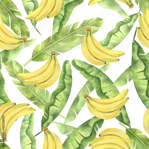 akwarela-bezszwowy-wzor-z-tropikalnymi-zielonymi-liscmi-i-zoltymi-bananami-odizolowywajacymi-na-bialym-tle