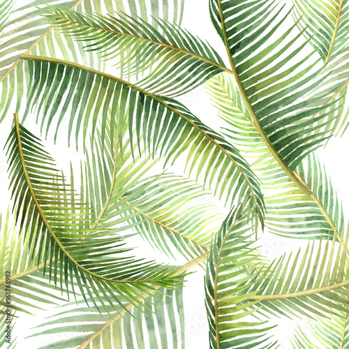 Fotobehang Tropische bladeren Watercolor seamless pattern with tropical leaves isolated on white background.