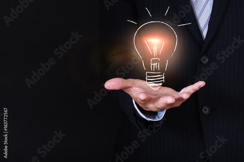 businessman holding a sketch lightbulb Wallpaper Mural