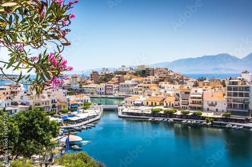 Vászonkép Agios Nikolaos City and Voulismeni Lake, Crete, Greece
