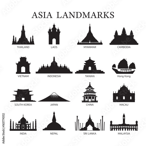 Asia Landmarks Architecture Building Silhouette Set Wall mural