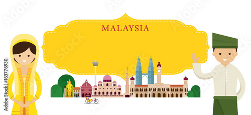 Malaysia Landmarks and people in Traditional Clothing Wallpaper Mural