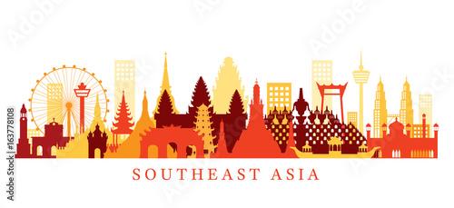 Fotografía  Southeast Asia Landmarks Skyline, Shape