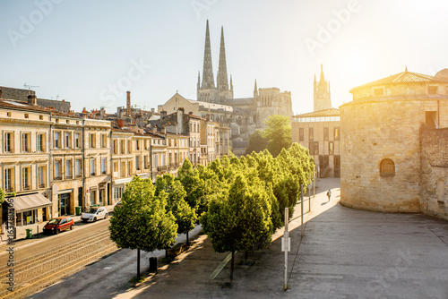 Morning cityscape view with saint Pierre cathedral in Bordeaux city, France Canvas Print