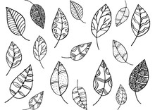 Leafs Pattern In  Doodle Style