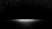 Twinkling Glitter Falling On A Flat Surface Lit By A Bright Spotlight (elegant Black And White Stage Background)