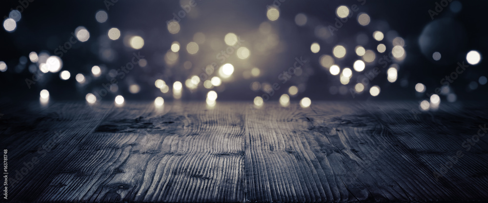 Fototapety, obrazy: Gold and silver bokeh on a dark background
