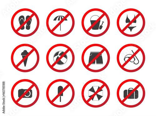 Set Of Travel Prohibition Icons Beach Restriction Signs Icon Set