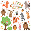 A set of cute animals on a white background isolated. Vector illustration.