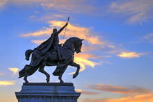The Sunset Over The Apotheosis Of St. Louis Statue Of King Louis IX Of France, Namesake Of St. Louis, Missouri In Forest Park, St. Louis, Missouri.