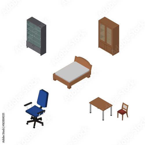 Fotografia, Obraz  Isometric Design Set Of Sideboard, Office, Cabinet And Other Vector Objects