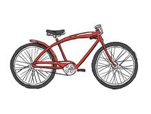 Hand Drawn Sketch Illustration Of Bicycle. Chopper Bike