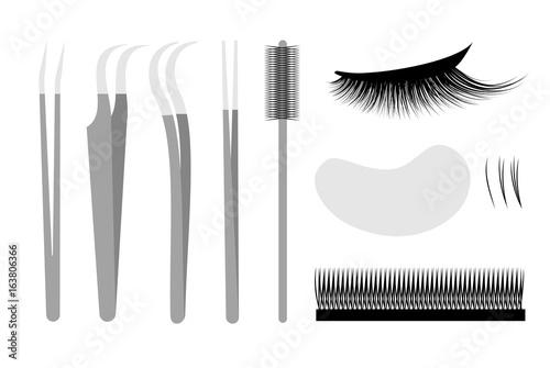 Fotografía  Eyelash extension. Set Professional tools tweezers