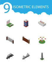 Isometric Urban Set Of Flower Decoration, Dc Memorial, Barrier And Other Vector Objects. Also Includes Telephone, Barrier, Brick Elements.