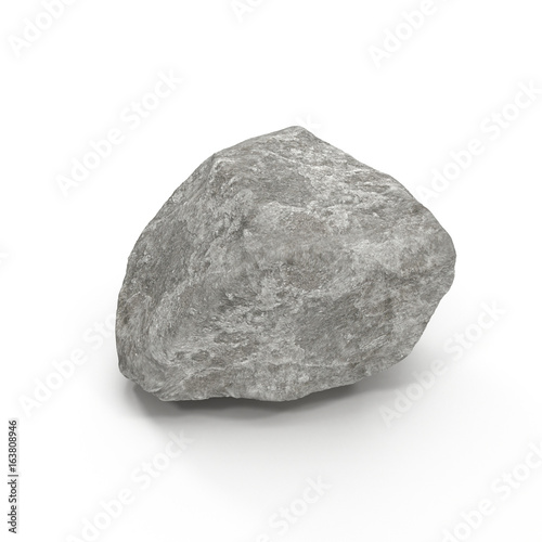 Stone isolated on white. 3D illustration, clipping path Canvas Print