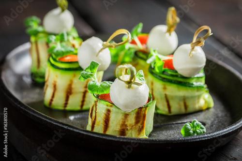 Papiers peints Entree Closeup of finger food made of fresh ingredients
