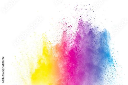 Zdjęcie XXL streszczenie kolorowy proszek bryzgnął na białym tle, zamrozić ruch eksplodujący kolor proszku