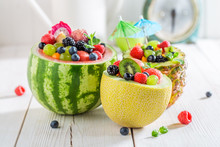 Fruits Salad In Melon And Pine...