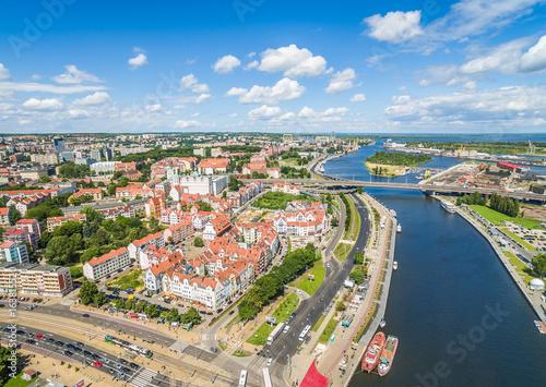 Obraz Stare miasto widziane z lotu ptaka, Szczecin - fototapety do salonu
