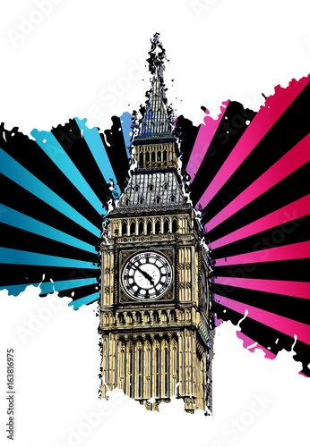 Modern Big Ben illustration, isolated on white © XtravaganT