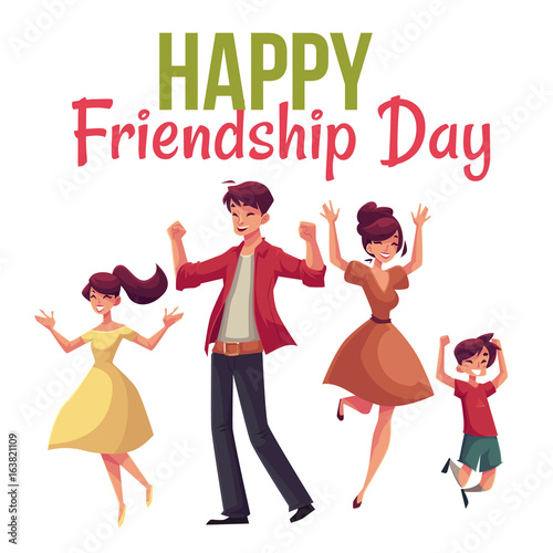 Happy Friendship Day Greeting Card Design With Family Jumping From