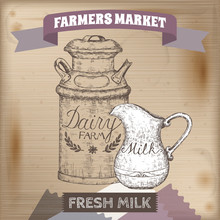 Vintage Farmers Market Label With Metal Milk Can And Pitcher.