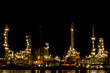 Oil refinery plant at twilight.