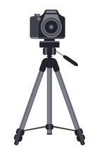 Camera On A Tripod Vector Icon...