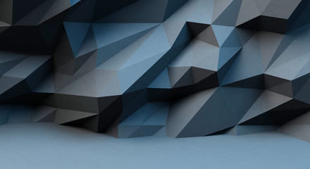Abstract black background with polygonal pattern. 3d image