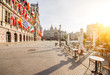 canvas print picture - Morning view on the Grote Markt with cafe terrace in the center of Antwerpen city, Belgium
