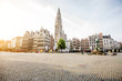 canvas print picture - Morning view on the Grote Markt with beautiful buildings and church tower in Antwerpen city, Belgium