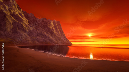Foto op Plexiglas Rood paars beautiful fantasy sunset over the ocean