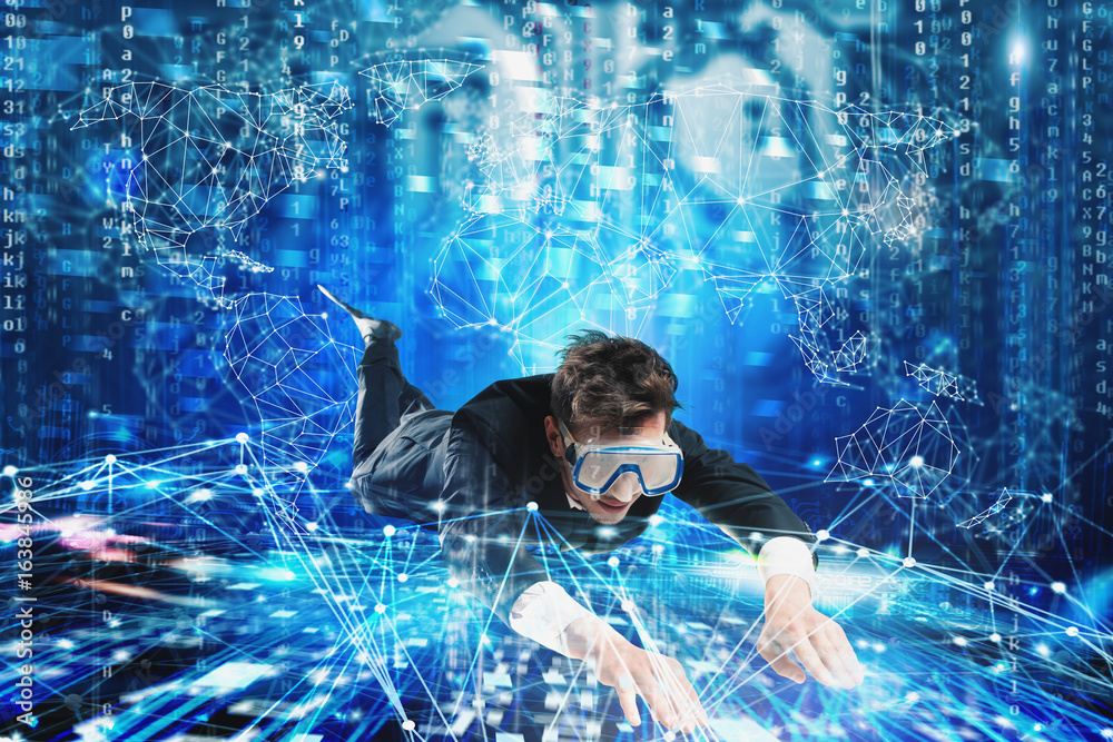 Fototapety, obrazy: Businessman surfing the internet underwater with mask. Internet exploration concept