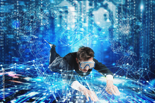 Businessman surfing the internet underwater with mask Wallpaper Mural
