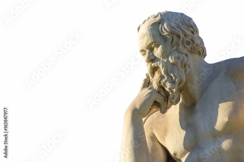 Poster de jardin Commemoratif Statue of the Greek philosopher Socrates over white background