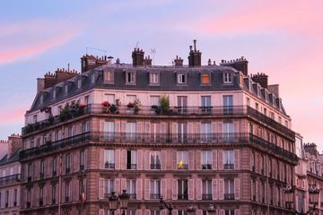 Fototapeta na wymiar Paris building at sunset France