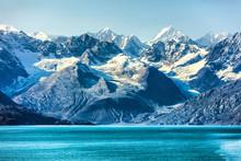 Glacier Bay Cruise - Alaska Nature Landscape. Glacier Bay National Park In Alaska, USA. Scenic View From Cruise Ship Vacation Alaska Travel Showing Mountain Peaks And Glaciers.