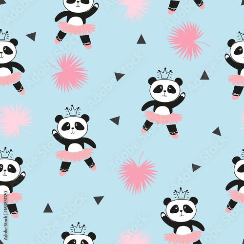 Photo  Cute panda ballerinas seamless pattern