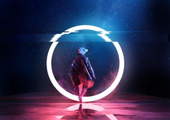 Naklejka Retro Future. A futuristic spaceman walking thorugh a circle of light. 3D illustration
