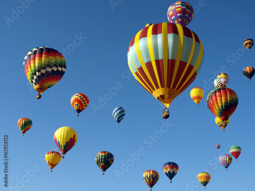 Poster Balloon Colorful Hot Air Balloons Fly in a Clear Blue Sky