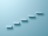 Abstract stairs or steps concept on light green pastel color wall background with shadow. 3D rendering.