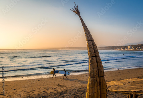 Poster South America Country Huanchaco Beach and the traditional reed boats (caballitos de totora) - Trujillo, Peru