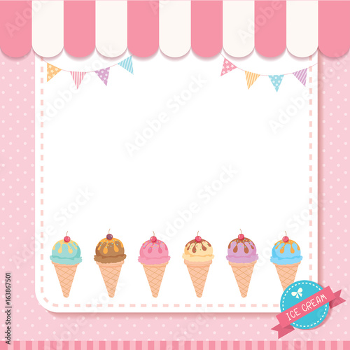 ice cream cone menu template decorated with buntings on pink